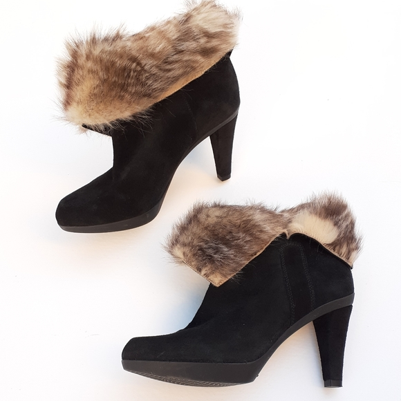 fur lined heeled ankle boots